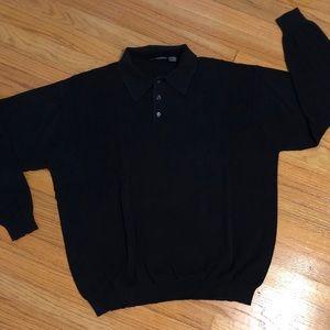Men's Black Long Sleeve Lightweight Sweater